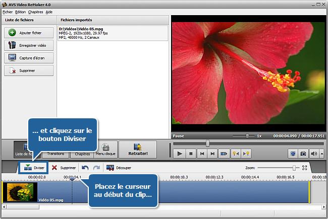 Comment diviser la vidéo en utilisant AVS Video ReMaker? Etape 3