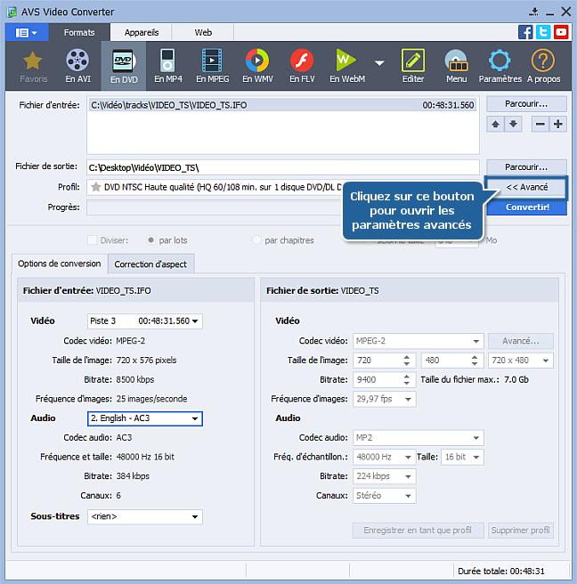 Comment convertir un format PAL en NTSC? Etape 3