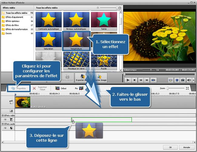 Comment appliquer un effet à une vidéo et la convertir dans un autre format? Etape 4
