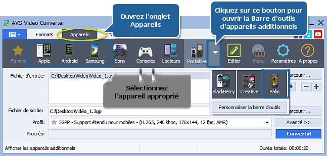 Comment convertir une vidéo en 3GP ou MP4 pour votre téléphone portable? Etape 3