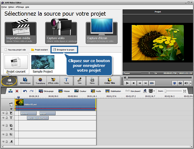 Comment enregistrer un projet et une vidéo dans AVS Video Editor? Etape 1