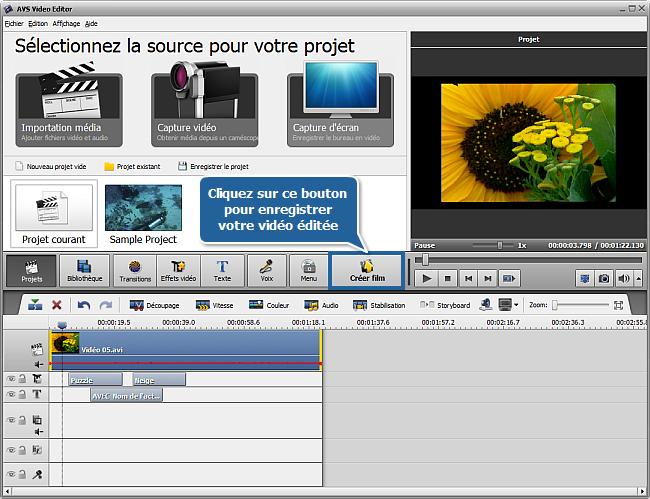Comment enregistrer un projet et une vidéo dans AVS Video Editor? Etape 2