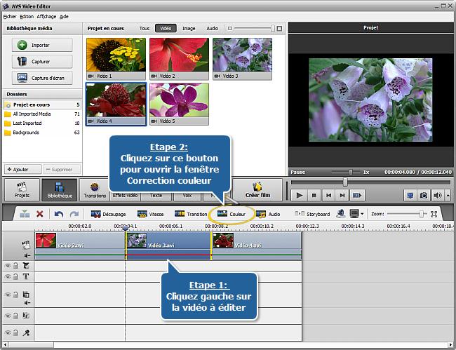 Comment corriger les couleurs d'une vidéo avec AVS Video Editor? Etape 1