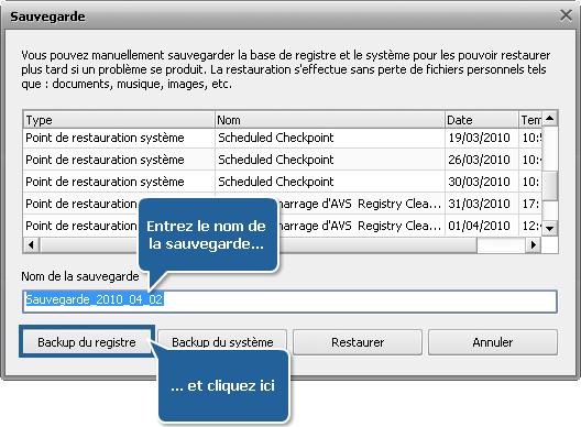 Comment sauvegarder et restaurer le registre avec AVS Registry Cleaner? Etape 3