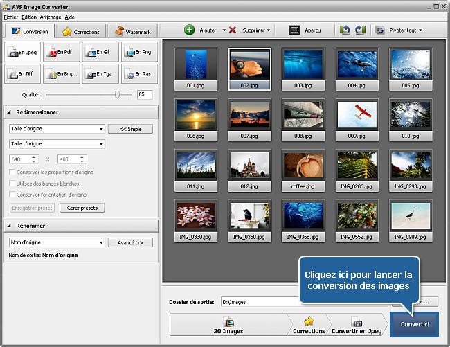 Comment appliquer un effet aux images et les convertir dans un autre format? Etape 6