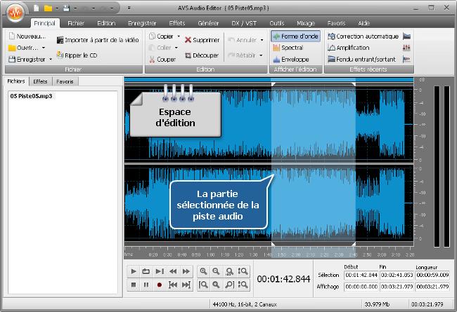 Comment appliquer des effets audio en utilisant AVS Audio Editor? Etape 3