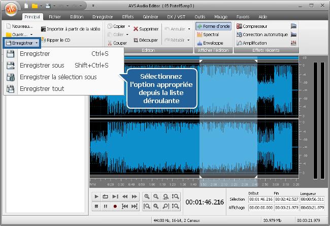 Comment appliquer des effets audio en utilisant AVS Audio Editor? Etape 5