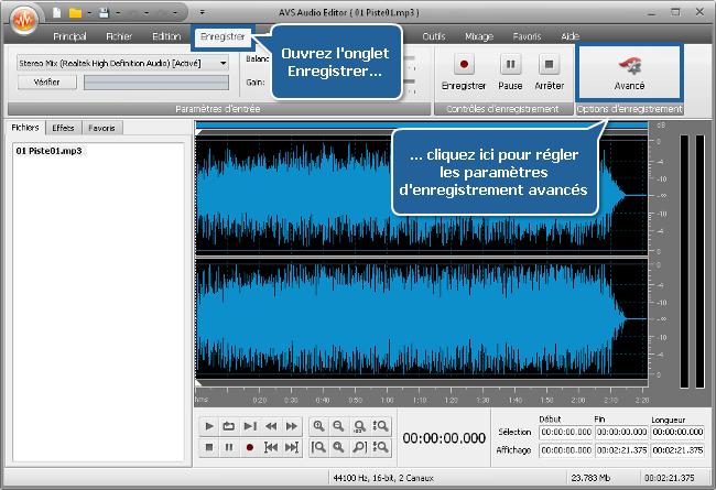 Comment enregistrer la voix sur une piste audio en utilisant AVS Audio Editor? Etape 3