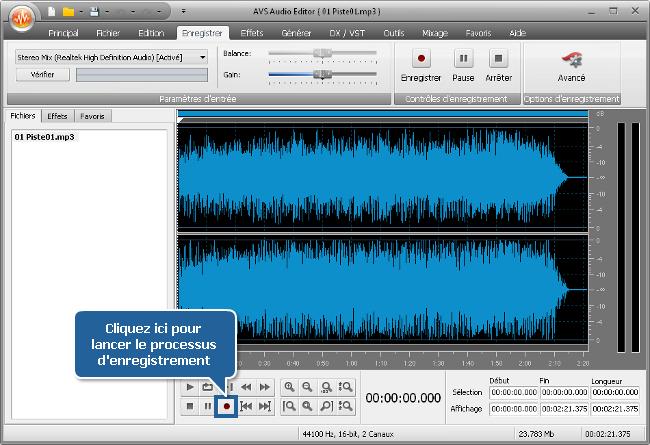 Comment enregistrer la voix sur une piste audio en utilisant AVS Audio Editor? Etape 5