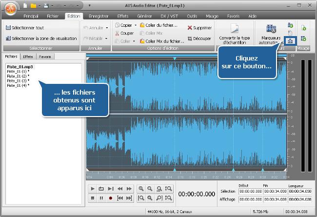 Comment diviser un fichier audio en plusieurs parties avec AVS Audio Editor? Etape 4