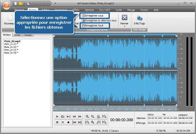 Comment diviser un fichier audio en plusieurs parties avec AVS Audio Editor? Etape 5