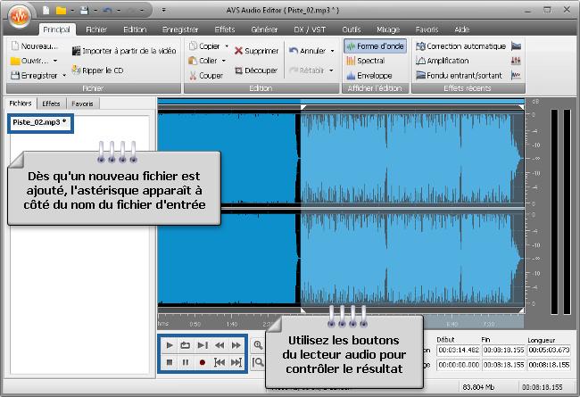 Comment fusionner plusieurs fichiers audio en un seul avec AVS Audio Editor? Etape 3
