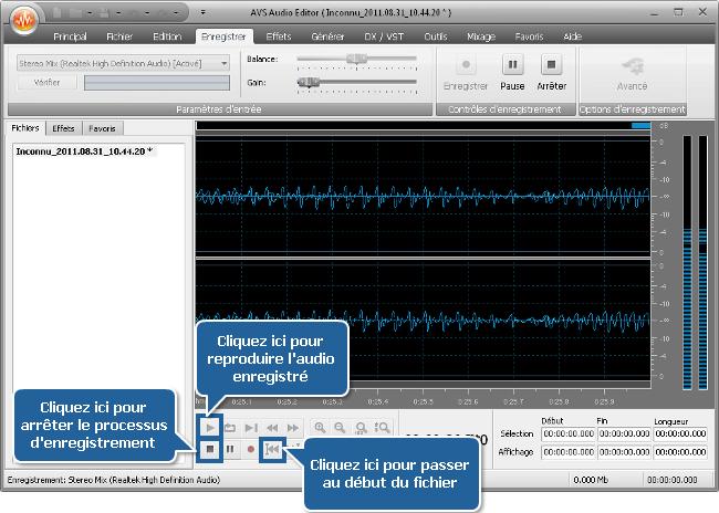 Comment enregistrer de la musique en utilisant AVS Audio Editor? Etape 5