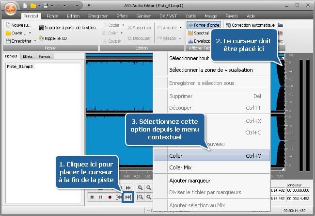 Comment faire un fichier audio de la même durée que le fichier vidéo? Etape 3
