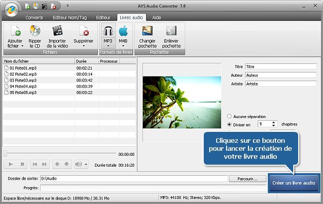 Comment créer des livres audio en utilisant AVS Audio Converter? Etape 6