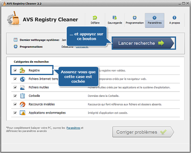 Comment nettoyer le registre de l'ordinateur avec AVS Registry Cleaner? Etape 3