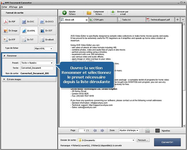 Comment convertir les documents dans le format HTML? Etape 4