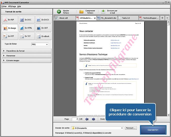 Comment ajouter un watermark aux documents? Etape 7