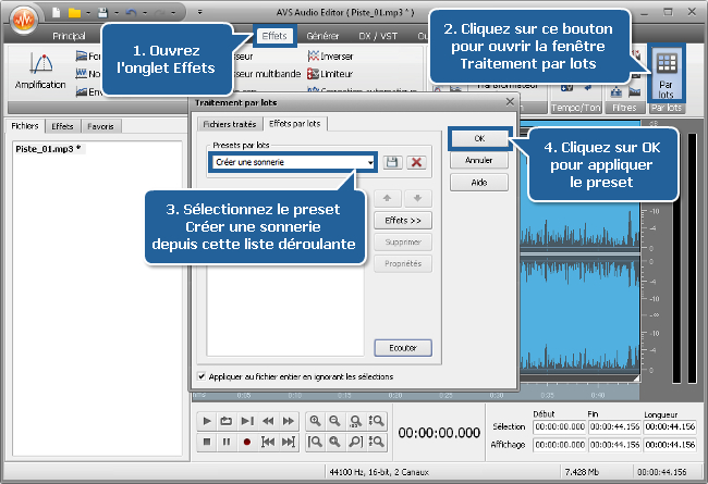 Comment créer une sonnerie avec AVS Audio Editor? Etape 4