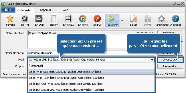 Comment convertir une vidéo en WebM? Etape 3