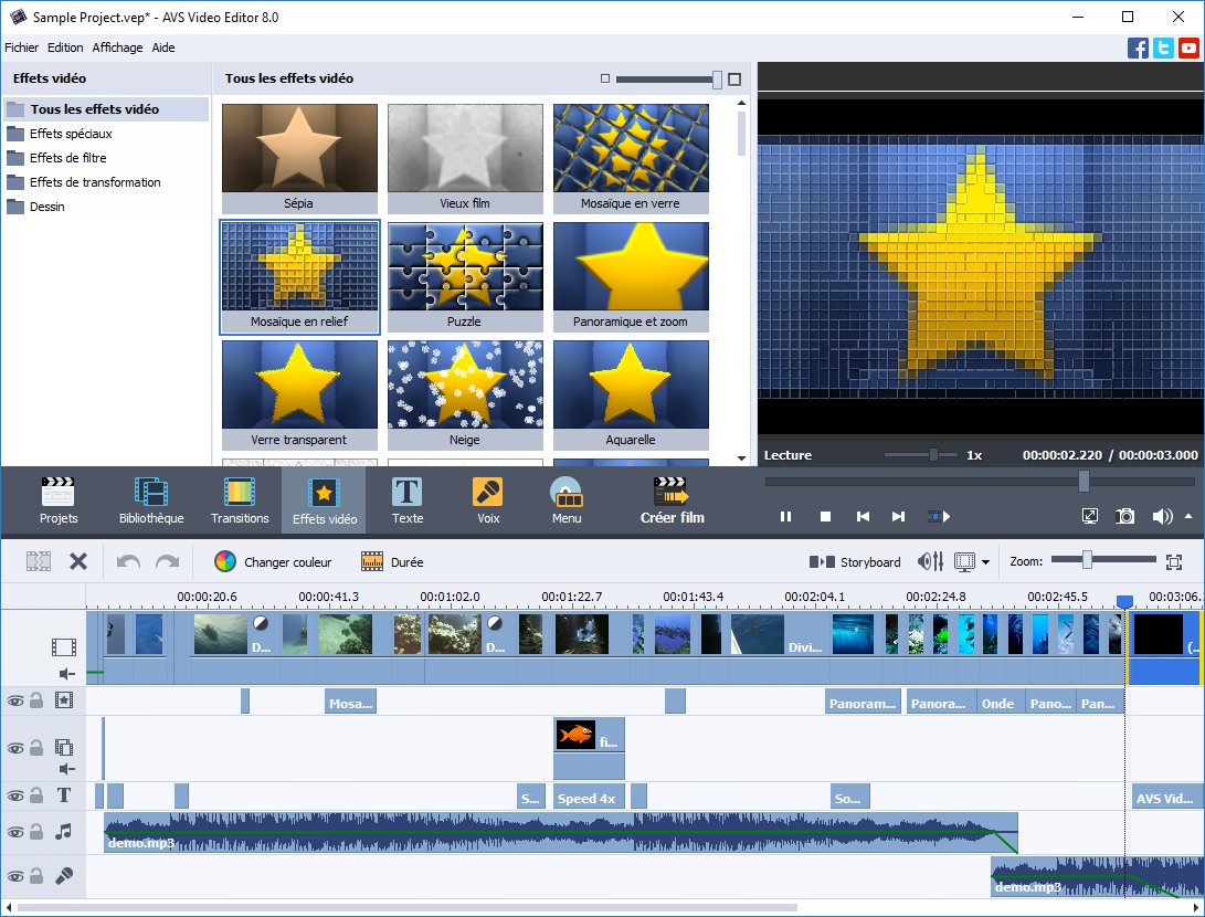 Avs video editor montage vid o effets stabilisation for Ecran montage video