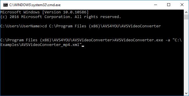 Come utilizzare il modo di riga di comando in AVS Video Converter? Passo 4