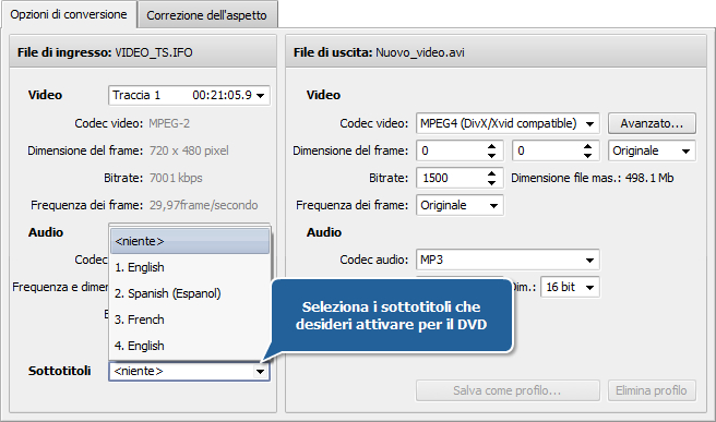 Come convertire file video con sottotitoli? Passo 3