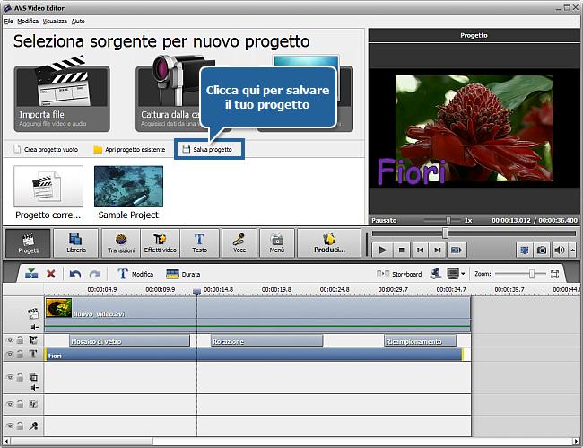 Come salvare il progetto e il video in AVS Video Editor?