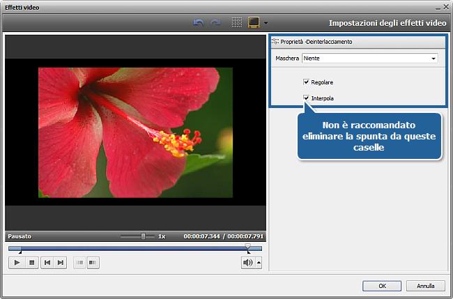 Come rimuovere gli artefatti dovuti all'interlacciamento usando AVS Video Editor? Passo 3