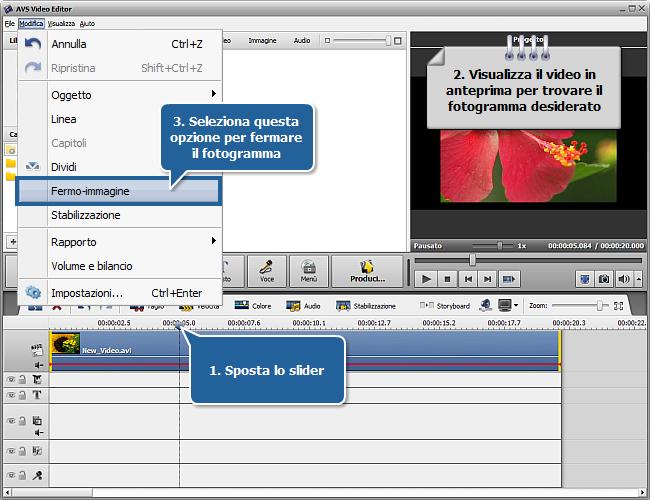 Come effettuare un fermo immagine nel video? Passo 1