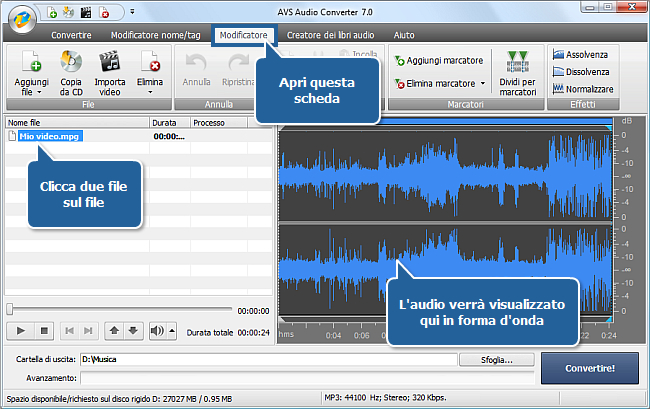 Come si fa a trasferire un audio dal tuo file video con AVS Audio Converter? Passo 3