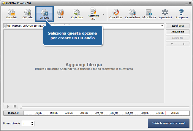 Come creare un CD audio a partire da differenti formati audio? Passo 2