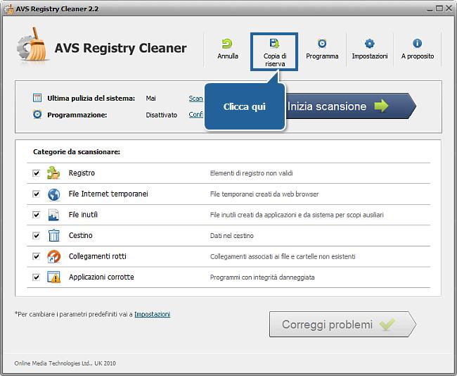 Come fare una copia di riserva e recuperare il registro con AVS Registry Cleaner? Passo 2