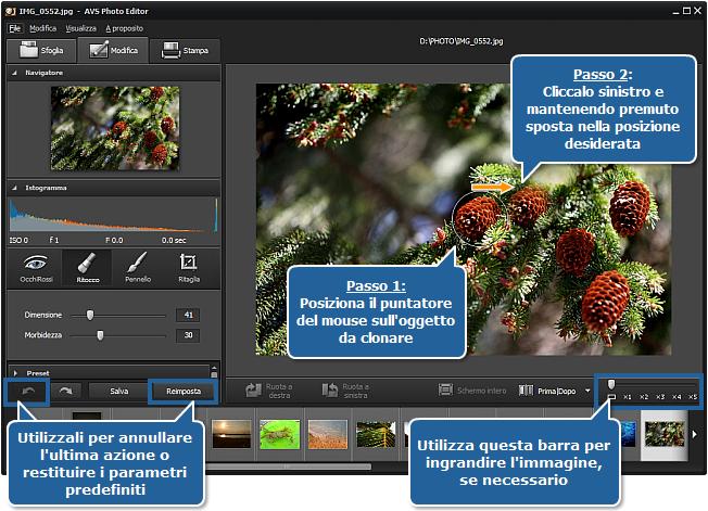Come clonare le parti di un'immagine usando lo strumento Ritocco? Passo 3