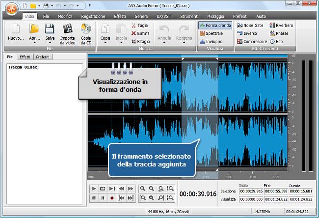 Come si fa ad applicare effetti audio a un file audio usando AVS Audio Editor? Passo 3