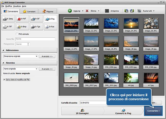 Come si fa a convertire file immagine? Passo 6