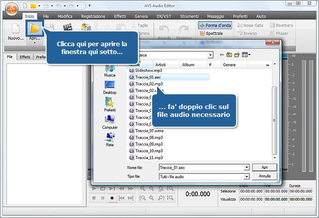 Come registrare la voce su una traccia audio con AVS Audio Editor? Passo 2