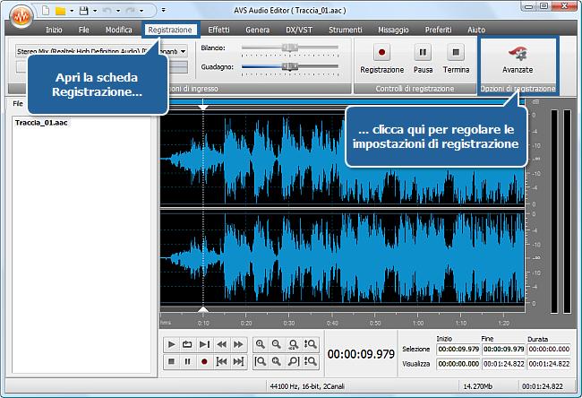 Come registrare la voce su una traccia audio con AVS Audio Editor? Passo 3