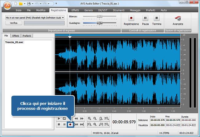 Come registrare la voce su una traccia audio con AVS Audio Editor? Passo 5