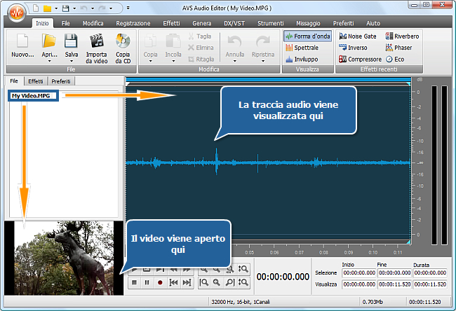 Come elaborare la traccia audio del video personale? Passo 2