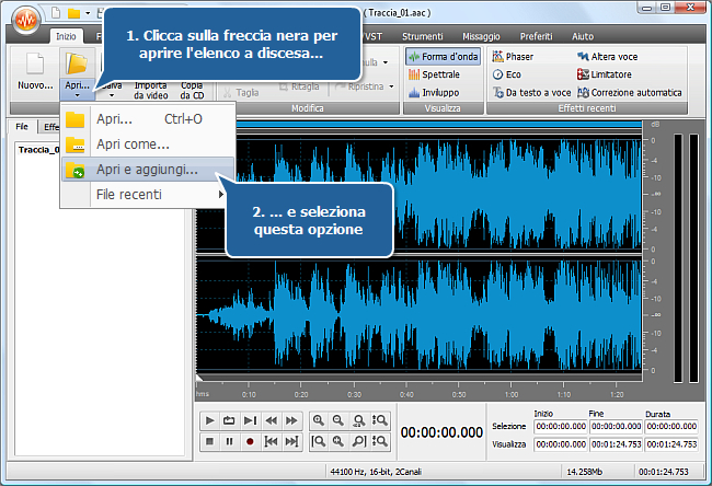 Come unire qualche traccia audio in un file con AVS Audio Editor? Passo 3