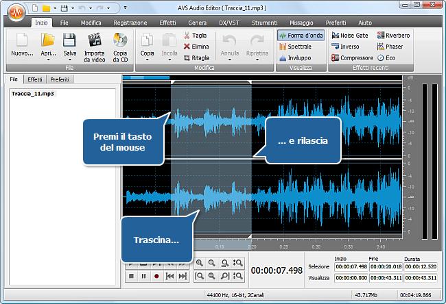 Come aumentare il volume di (una parte di) una traccia audio? Passo 3