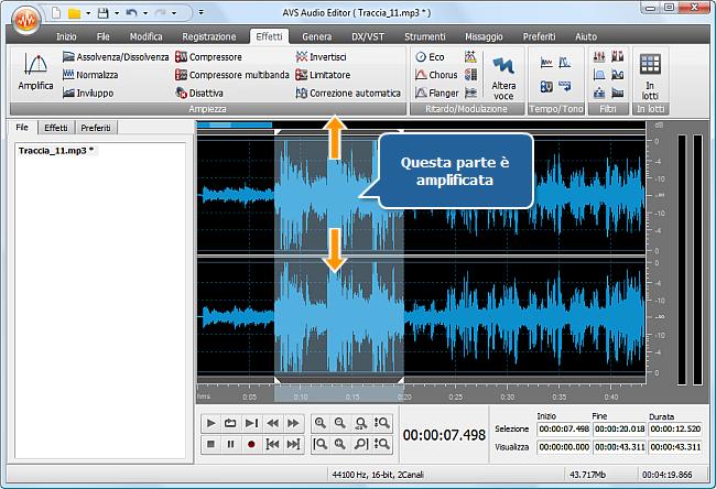 Come aumentare il volume di (una parte di) una traccia audio? Passo 4