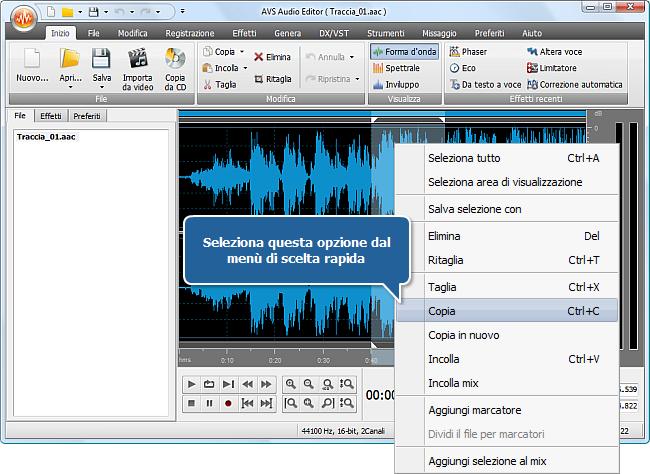 Come si fa ad adattare l'audio alla dimensione del file multimediale con AVS Audio Editor? Passo 3