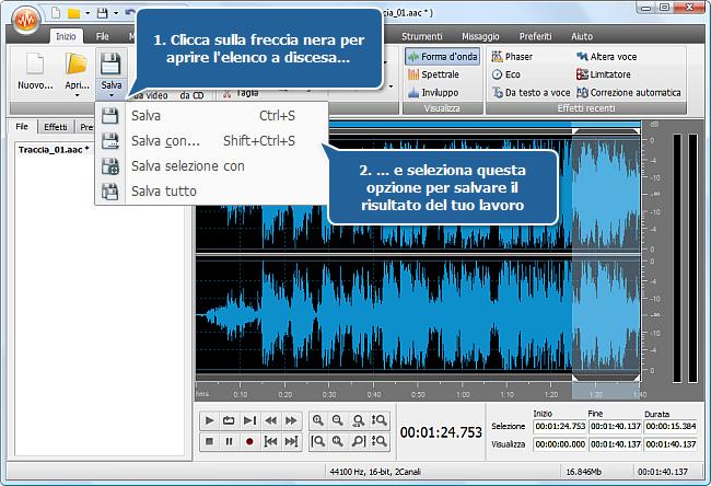Come si fa ad adattare l'audio alla dimensione del file multimediale con AVS Audio Editor? Passo 4