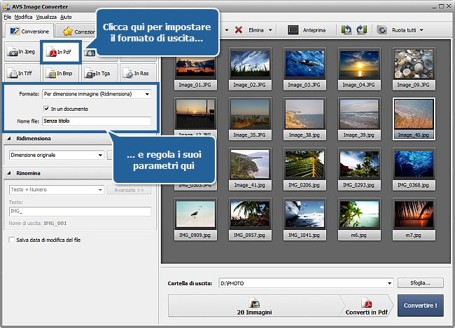 Come convertire immagini in PDF? Passo 3