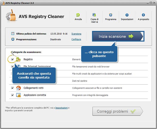 Come correggere gli errori del PC con AVS Registry Cleaner? Passo 3