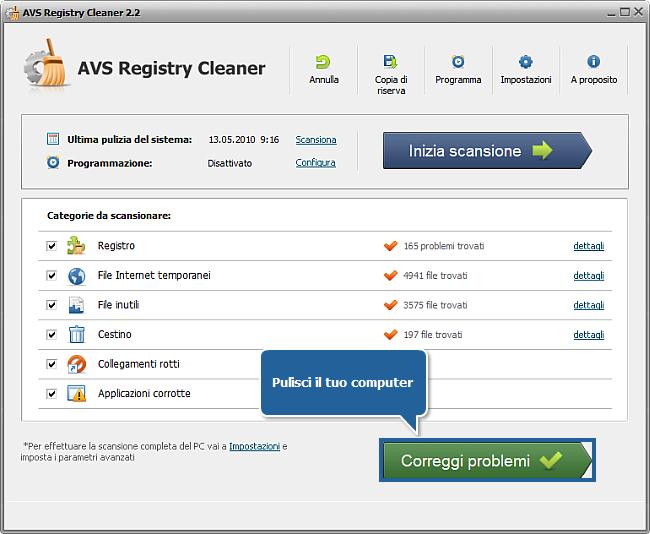 Come correggere gli errori del PC con AVS Registry Cleaner? Passo 4