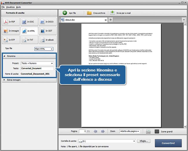Come convertire i documenti in formato HTML? Passo 4