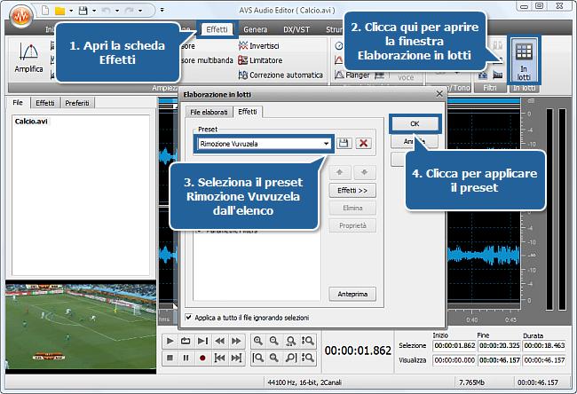 Come eliminare il suono delle vuvuzela usando AVS Audio Editor? Passo 4